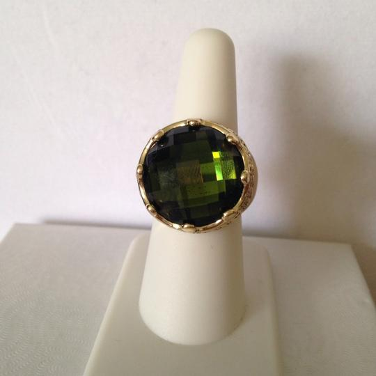Other NWOT Faceted Green Crystal In Antiqued Gold-Tone Crown Design Ring, Size 7