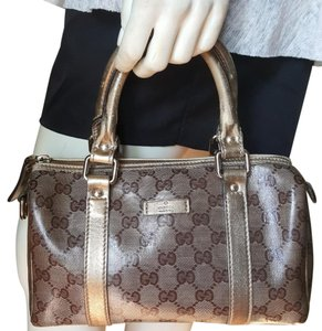 Gucci Mini Boston Crystal Canvas Satchel in Gold