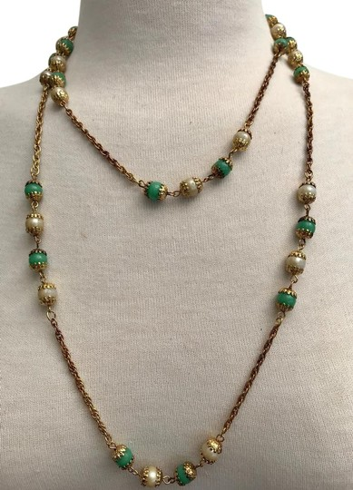 Preload https://img-static.tradesy.com/item/22235101/green-cream-ivory-gold-faux-pearl-and-jade-tone-filigree-and-rope-chain-46-necklace-0-1-540-540.jpg