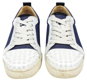 Christian Louboutin Spike Denim White Sneaker Blue Athletic