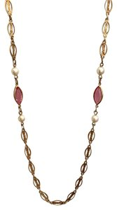 VINTAGE VINTAGE GOLD TONE FILIGREE CHAIN NECKLACE, PEARLS & PINK MARQUIS STONE