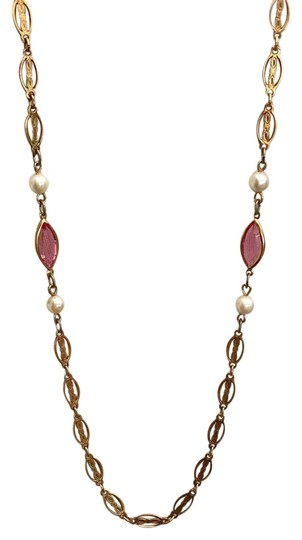 Preload https://img-static.tradesy.com/item/22235409/gold-pink-ivory-cream-white-tone-filigree-chain-pearls-and-marquis-stone-necklace-0-1-540-540.jpg