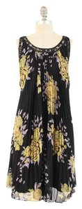 Free People short dress Black Floral Accordion Pleated Lace Trim Mini Boho on Tradesy