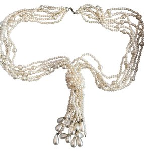 VINTAGE VINTAGE IVORY FAUX PEARL MULTI STRAND NECKLACE W. KNOT & PEARL TASSELS