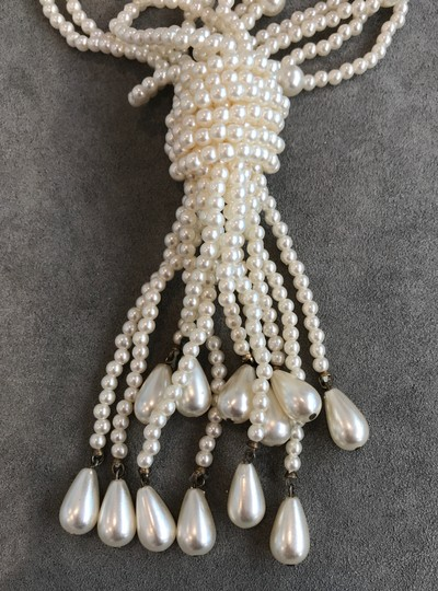 VINTAGE VINTAGE IVORY FAUX PEARL MULTI STRAND NECKLACE W. KNOT & PEARL TASSELS Image 1