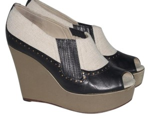 ROCHAS Open Toe Black Wedges