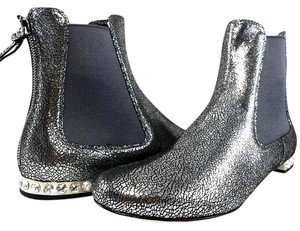 Miu Miu Sparkle Leather Textured Crystal Charcoal Boots