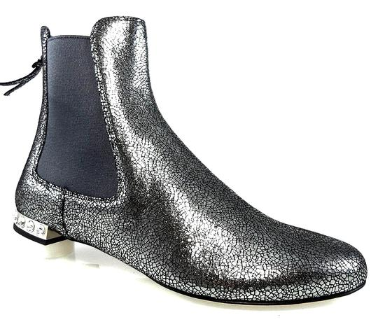 Miu Miu Sparkle Leather Textured Crystal Charcoal Boots Image 1