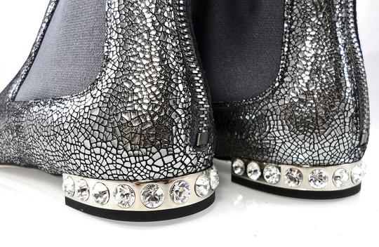 Miu Miu Sparkle Leather Textured Crystal Charcoal Boots Image 10