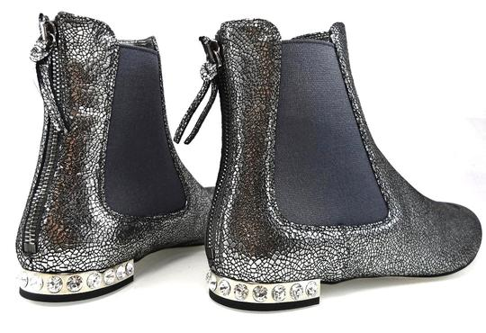 Miu Miu Sparkle Leather Textured Crystal Charcoal Boots Image 11