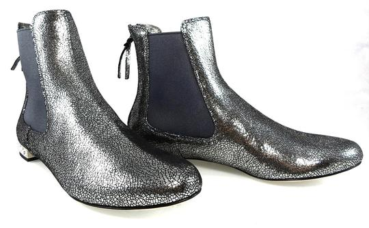 Miu Miu Sparkle Leather Textured Crystal Charcoal Boots Image 2