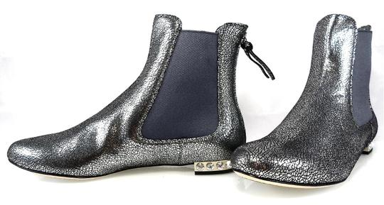 Miu Miu Sparkle Leather Textured Crystal Charcoal Boots Image 3