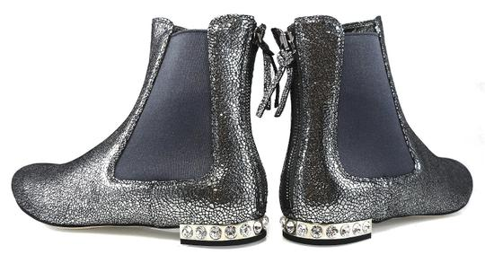 Miu Miu Sparkle Leather Textured Crystal Charcoal Boots Image 4