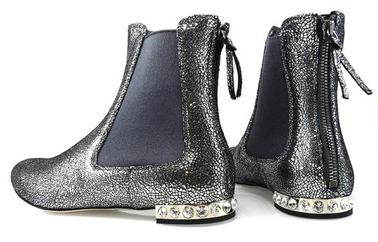 Miu Miu Sparkle Leather Textured Crystal Charcoal Boots Image 6