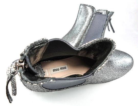 Miu Miu Sparkle Leather Textured Crystal Charcoal Boots Image 7