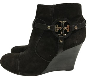Tory Burch Suede Wedge Round Brown Boots