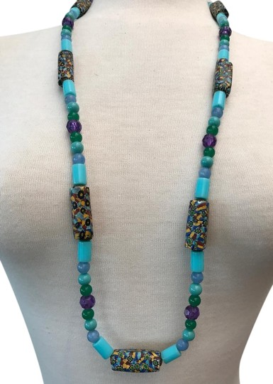 Preload https://img-static.tradesy.com/item/22235922/turquoise-blue-green-purple-composite-multi-colour-stones-and-glass-bead-necklace-0-1-540-540.jpg