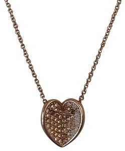Vera Bradley VERA BRADLEY SIGNED ROSE GOLD PAVE RHINESTONE HEART ON CHAIN NECKLACE