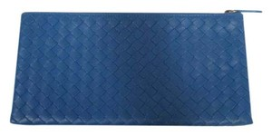 Bottega Veneta BOTTEGA VENETA Royal Blue Intrecciato Nappa Leather Flat Pouch New