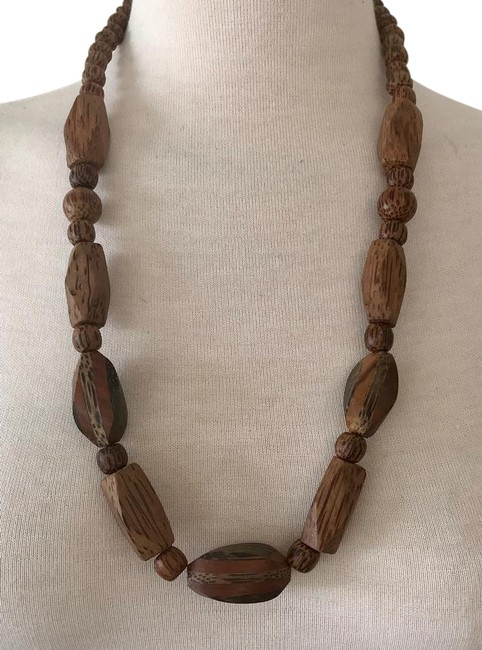 """Item - Brown Hand Carved Wood Bead Large Oval & Round Beads 34"""" Long Necklace"""