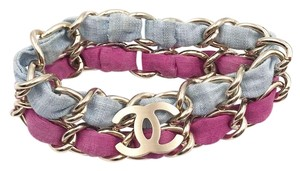 Chanel Chanel Gold CC Blue Fuchsia Double Chain Bangle Bracelet