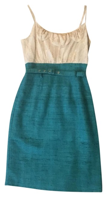 Preload https://img-static.tradesy.com/item/22236274/trina-turk-ivory-and-turquoise-with-tweed-skirt-flounce-top-mid-length-cocktail-dress-size-0-xs-0-1-650-650.jpg
