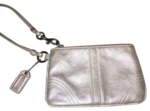 Coach Leather Wristlet in Silver