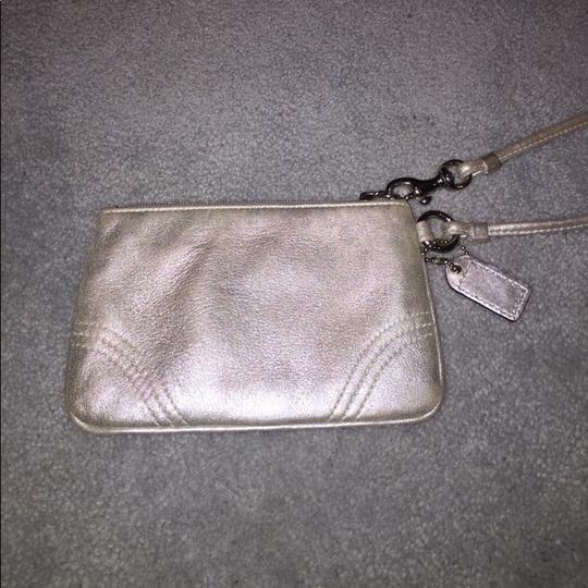 Coach Leather Wristlet in Silver Image 3