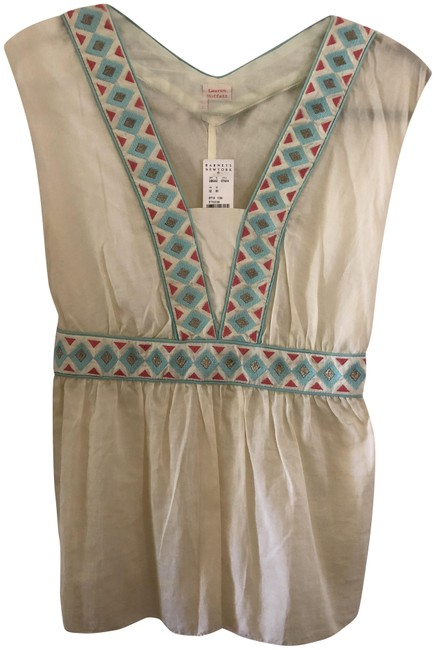 Item - Ivory Boho Embroidered Woven Tank Top/Cami Size 4 (S)