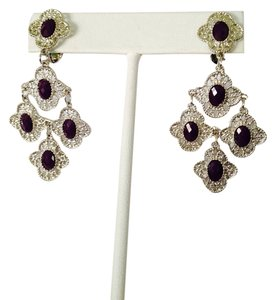 NWOT Faceted Dark Ruby Stones In Silver-Tone Earrings
