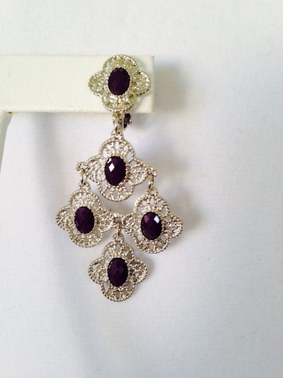 Other NWOT Faceted Dark Ruby Stones In Silver-Tone Earrings