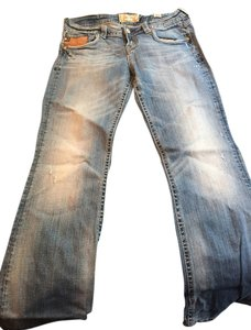 MEK Denim Vintage Leather Boot Cut Jeans-Light Wash