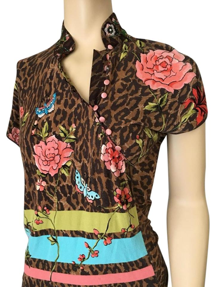 22828a05a2 Blumarine Leopard Print  Floral Asian Style Rayon Short Sleeve Brown Sweater