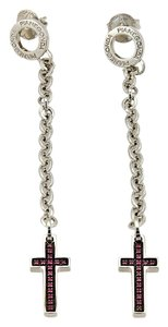 Franco Pianegonda Ruby Cross & Chain Sterling Silver Long Dangle Earrings