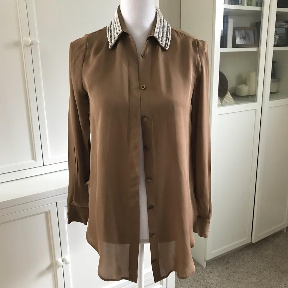 cd1dbc926c199 Haute Hippie Tan Pearl and Beaded Collar Button Down Blouse Size 2 ...