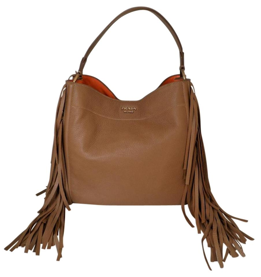 adf2c2cd9f Prada Cervo Fringe Hobo Br4975 Cammello Deerskin Leather Shoulder ...