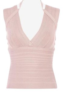 Hervé Leger Sleeveless Polished Chic Stretchy Top Blush/Nude