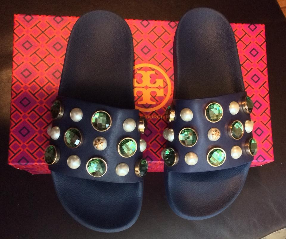 c3eb1cc57208 Tory Burch Vail Slide Jeweled Jeweled Blue Green Sandals Image 8. 123456789