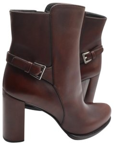 Prada Ankle Saffiano Leather Brown Boots