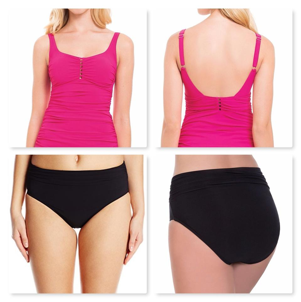 Profile by Gottex Pink Rose Ruched Top & Black Bottom 2pc Set~12/10 Tankini  Size 12 (L) 53% off retail