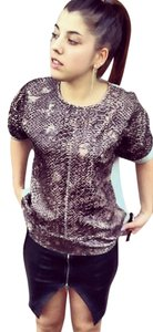 Zara Snakeskin Helmut Lang Isabel T Shirt BROWN GRAY
