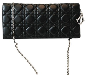 b704219365 Added to Shopping Bag. Dior black Clutch. Dior Lady Dior Cannage Charm Black  Lambskin Leather Clutch