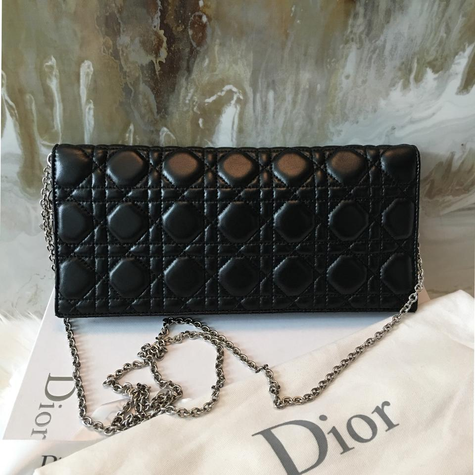 10faba48a8 Dior Lady Dior Cannage Charm Black Lambskin Leather Clutch - Tradesy