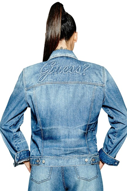 Item - Blue 90's Icon Embossed Jacket Size 12 (L)