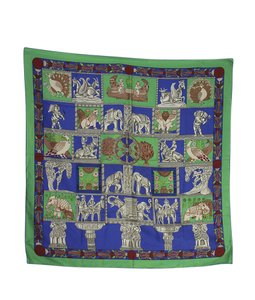 Herms Hermes Green Multi-Color Silk Scarf (136521)