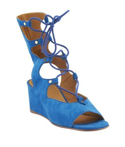 Chlo Suede Blue Wedges