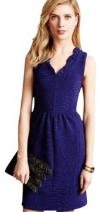 65ebba0760556 Anthropologie short dress Blue Textured Fabric Fit + Flare Super Flattering  on Tradesy