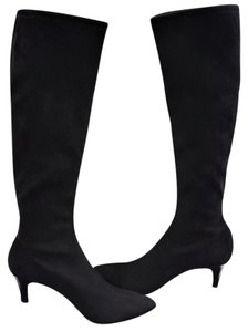 Delman Lilia Knee High Suede Black Boots