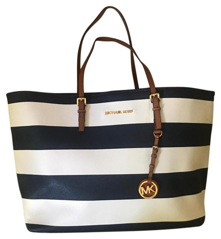 05ce6408defd Michael Kors Striped Navy Blue, White, And Chestnut Brown. Tote Bag on Sale