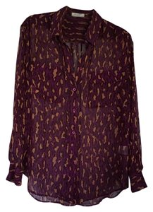 Equipment Leopard Sheer Silk Chiffon Button Down Shirt Pink